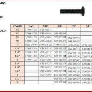 PARAFUSO SEXTAVADO UNC RI AÇOMEDIO CARBONO CLASSE G8 MEDIDAS EM POLEGADAS